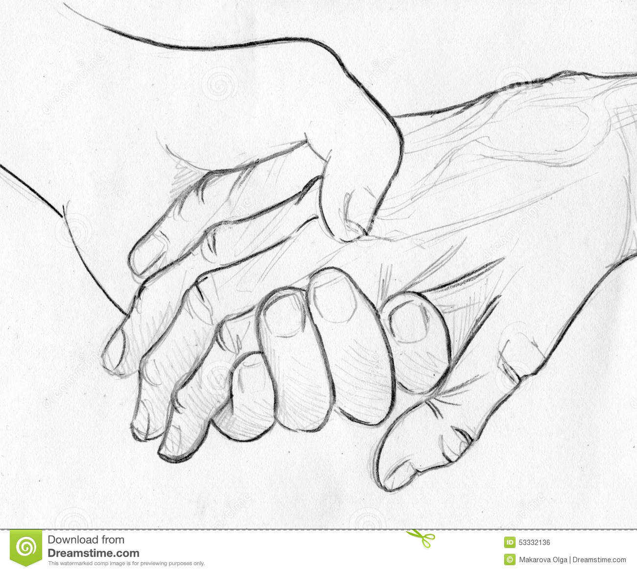 Holding Elderly Hand Pencil Sketch Stock Illustration
