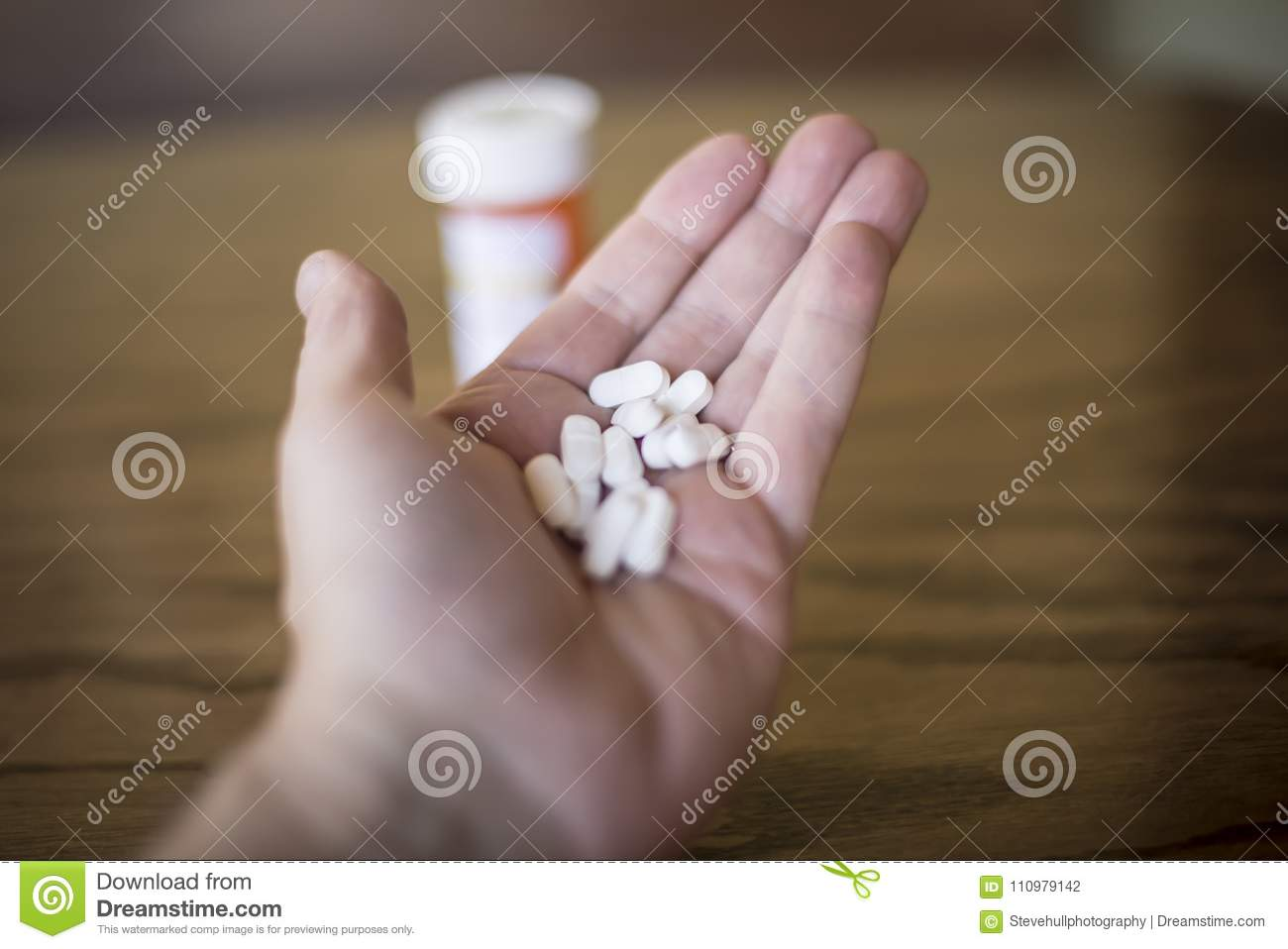 Handful of White Opioid Painkillers