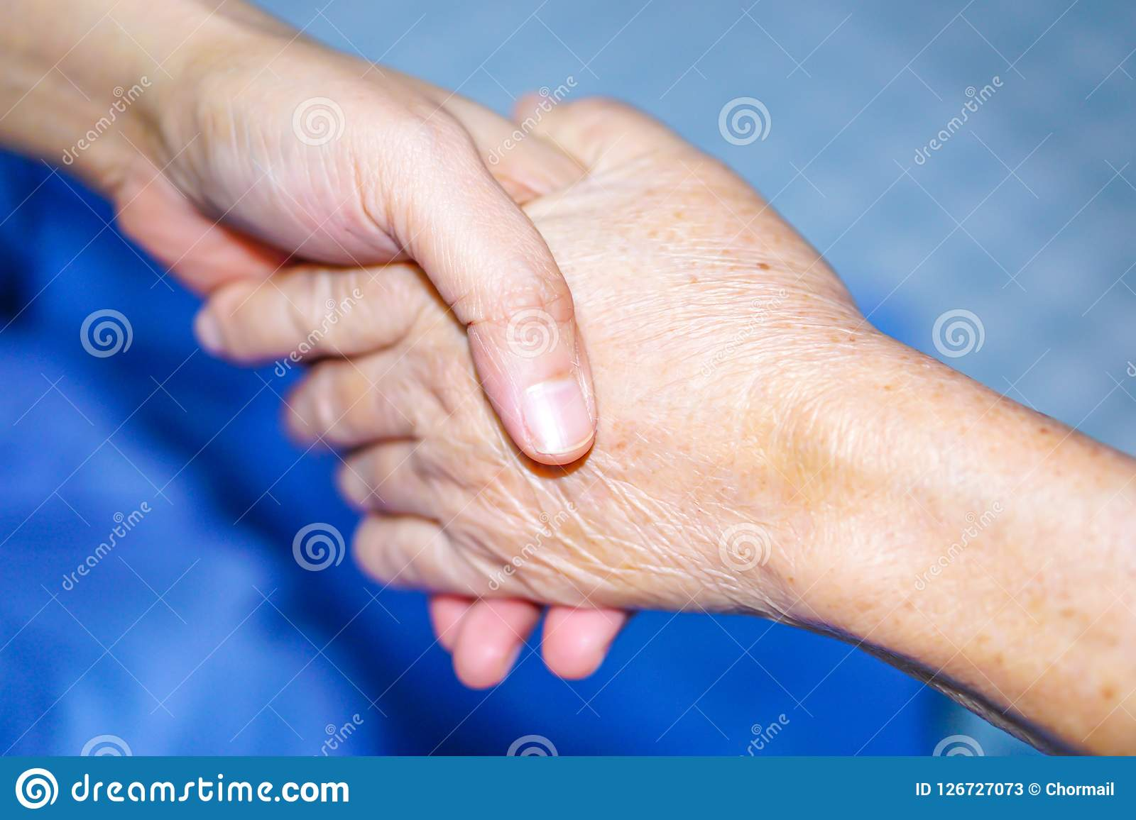 Holding Hands Asian Senior Or Elderly Old Lady Woman ...