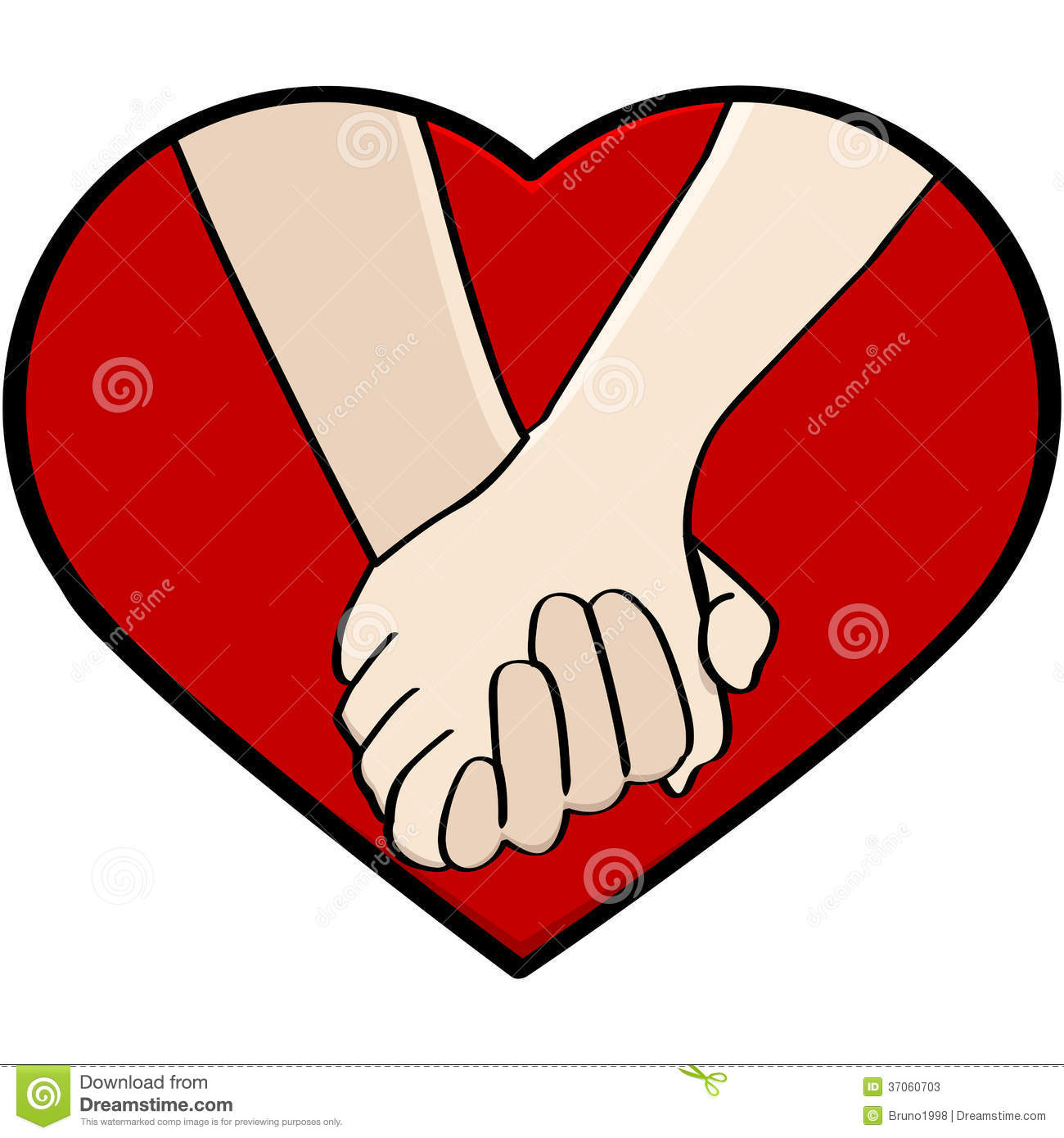 Cartoon illustration showing a close up of a couple holding hands framed by a heart