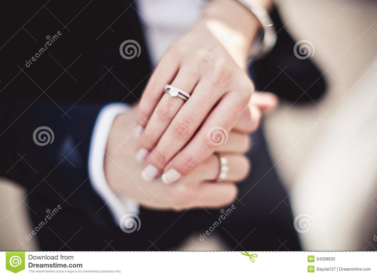 Holding Hands With Wedding Rings Stock Image - Image of female, life ...