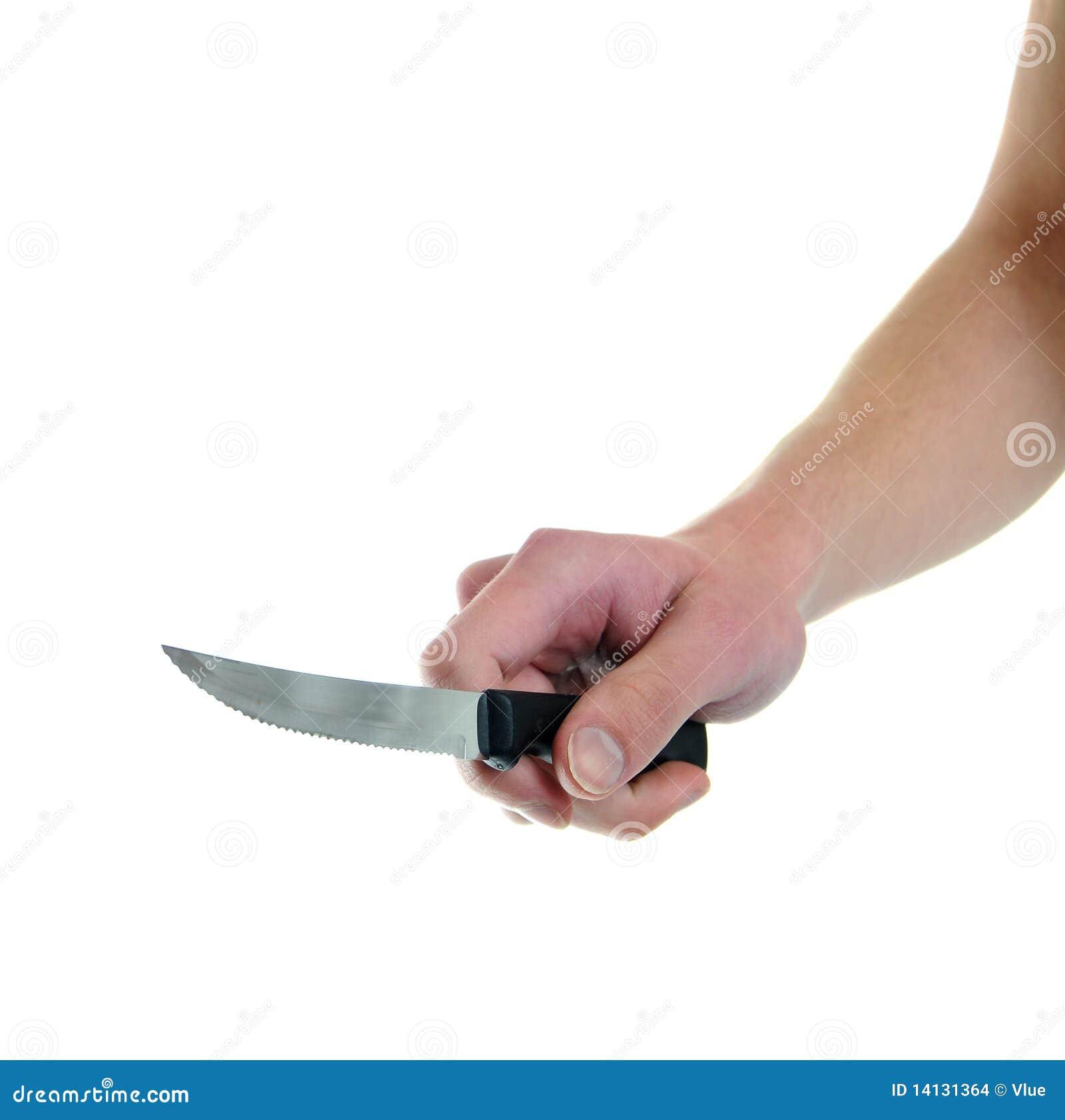 Holding Kitchen Knife Isolated On Stock Photo Image Of Holding Hand 14131364