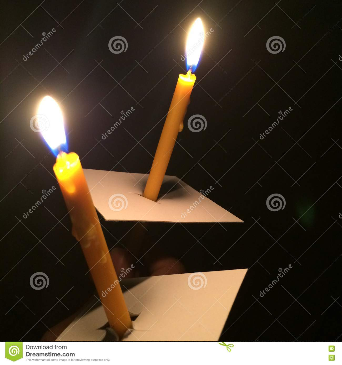 Holding 2 Lighting Candle In The Dark Stock Illustration ... for Holding Candle In The Dark  589hul