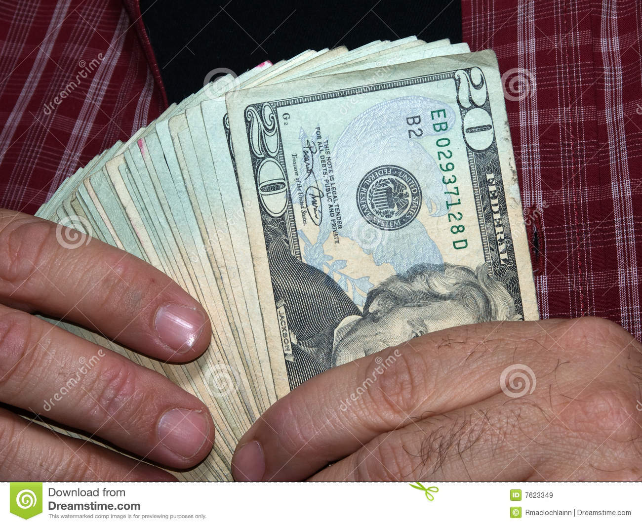 Man Holding One Thousand Dollars In 20 Dollar Bills Clipping Path Isolates The Hands And Money If Desired