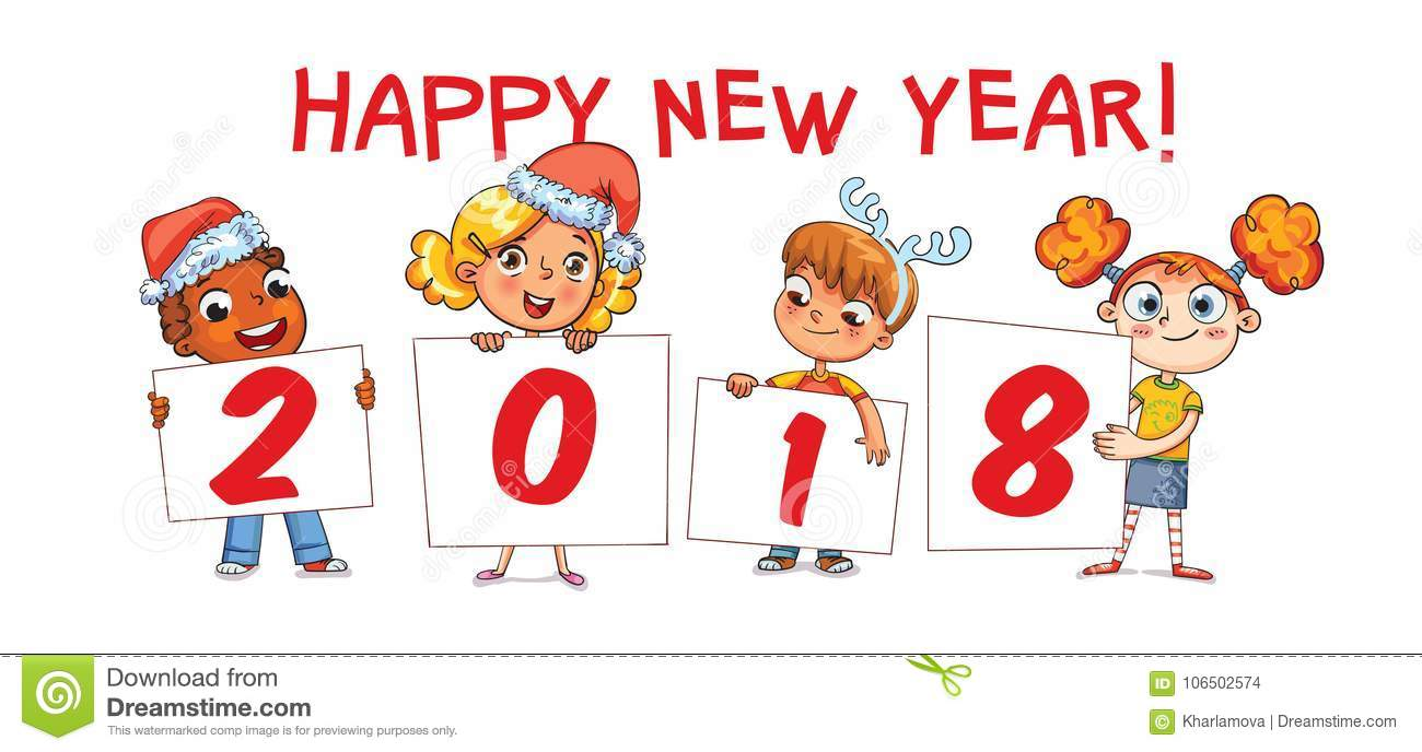 holding poster new year 2018 funny cartoon character