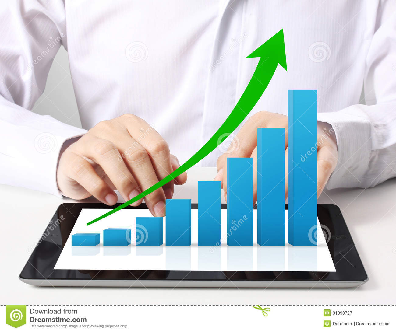 Holding Tablet With A Graph Stock Illustration