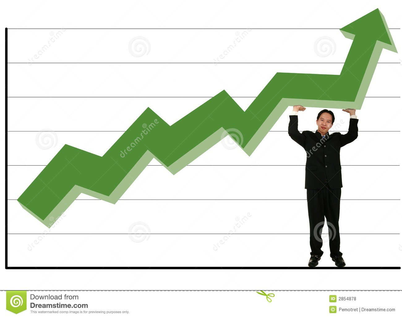 holding up green stock chart stock photo