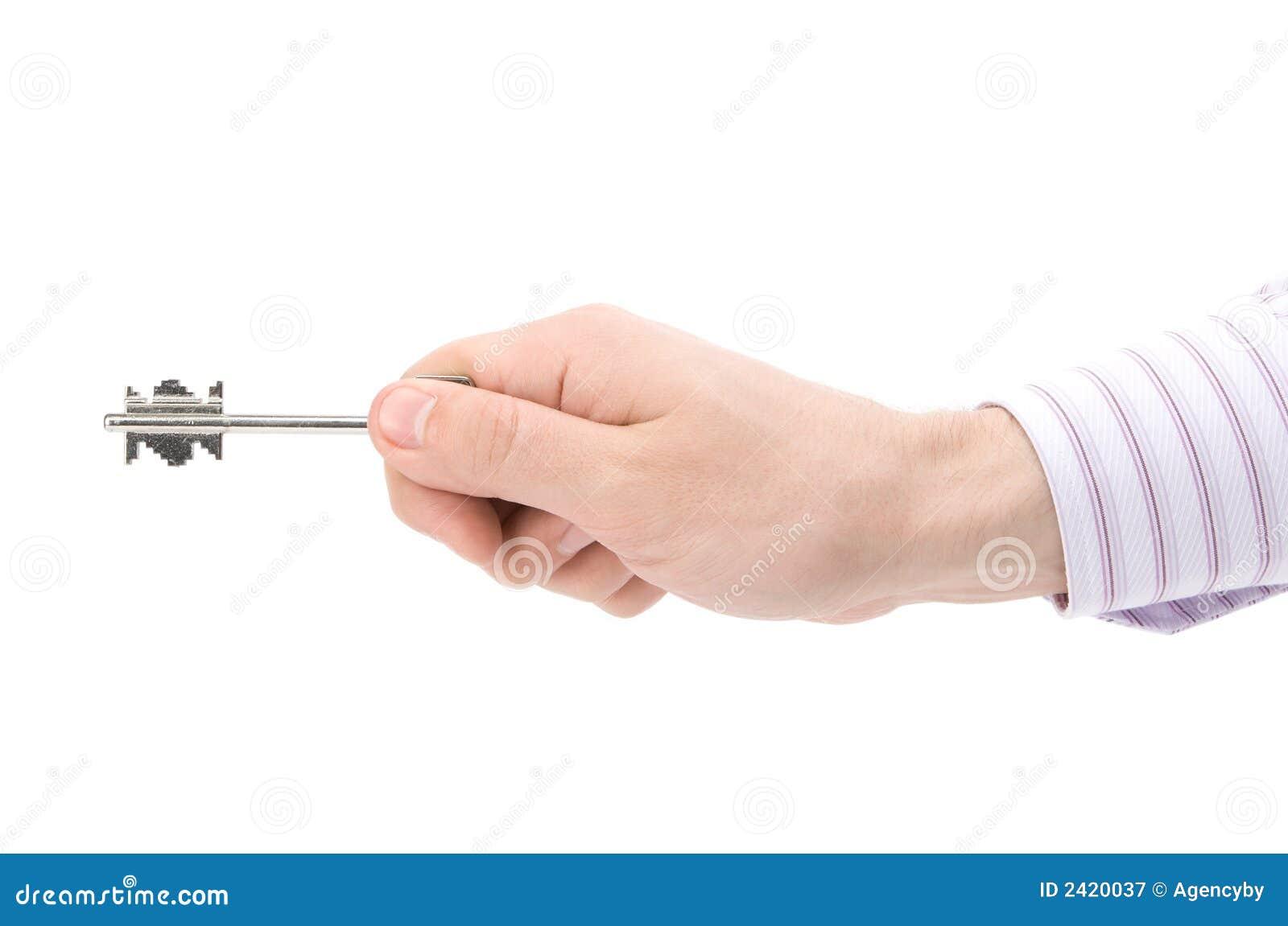 Holdingtaste des Geschäftsmannes Hand