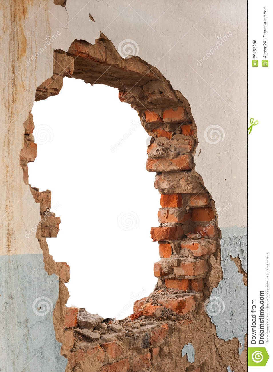 Hole brick wall stock photo. Image of disrepair, broken ...