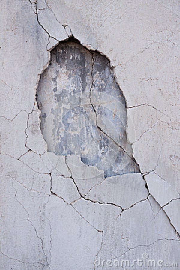 Hole In Concrete Wall : A hole in the cement wall stock photo image