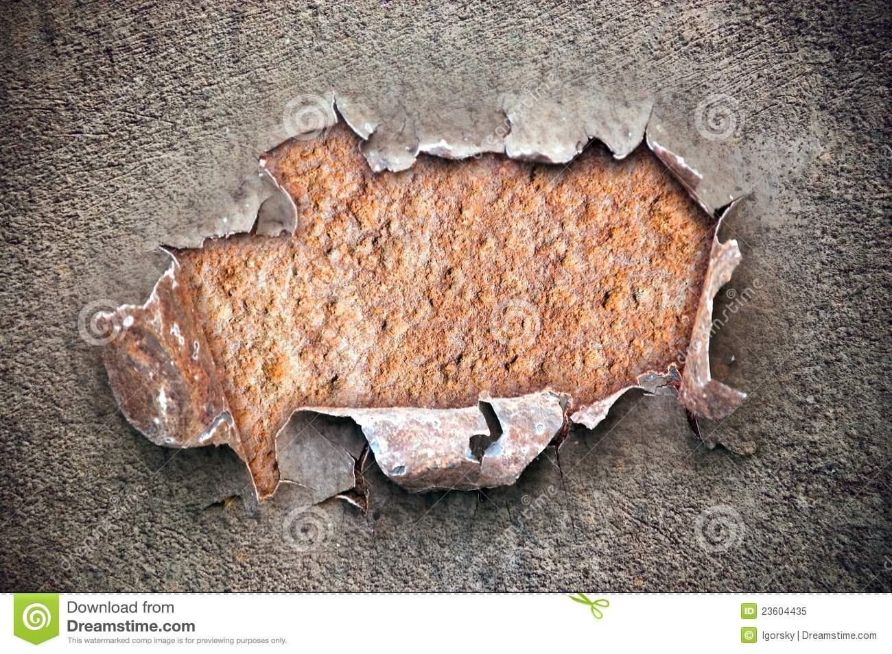 Hole On Chipped Paint With Rusty Metal Texture Stock Image