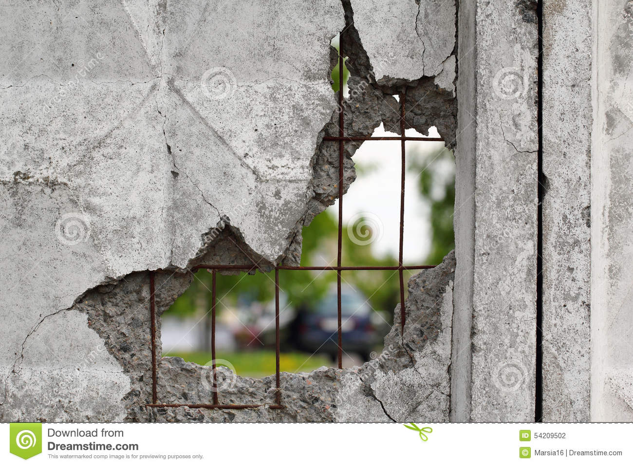 Hole In Concrete Wall : Hole in a concrete wall stock photo image of damage