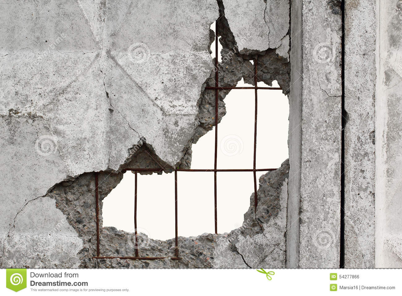 White Isolated Background Through Hole In A Concrete Wall