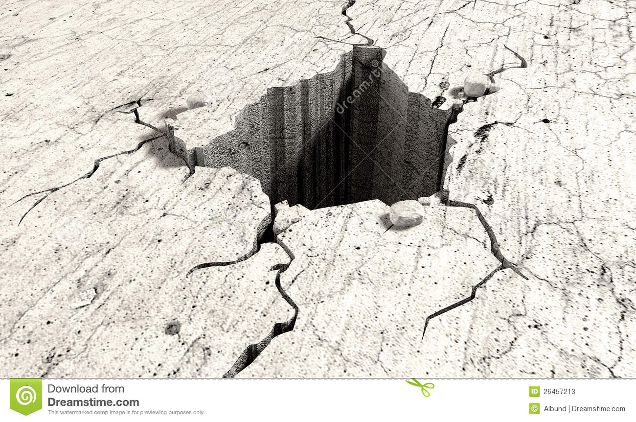 Hole In The Cracked Ground Perspective Stock Photos - Image: 26457213