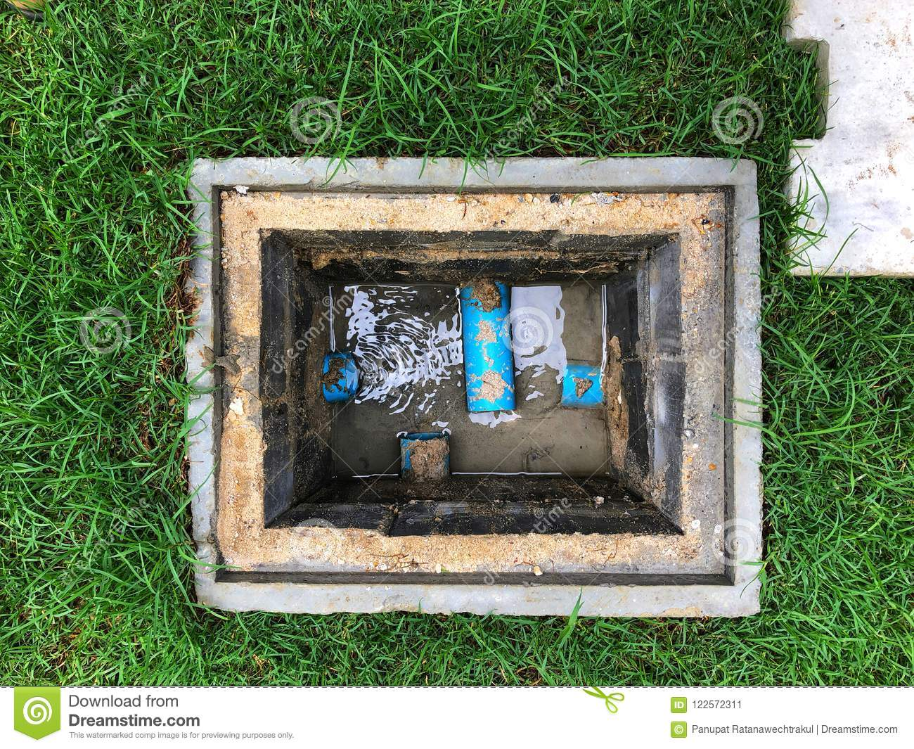 A Hole Of Drainage System Or Water Drain Around The House