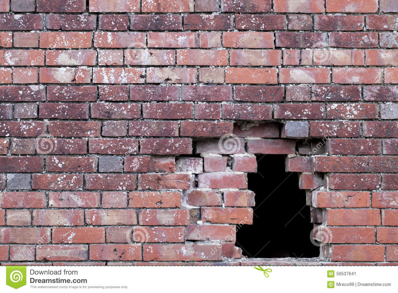 Hole In An Old Brick Wall Stock Photo - Image: 56537641