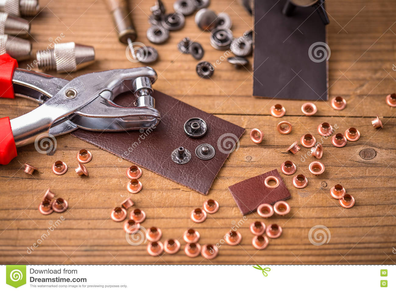 Hole punch plier tool stock photo  Image of buckle, brass