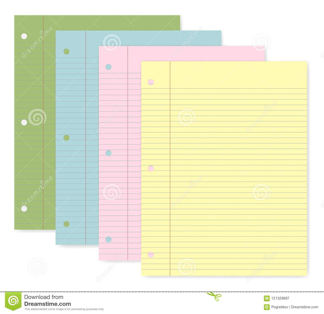 Hole Punched Lined Colored Paper With Margin