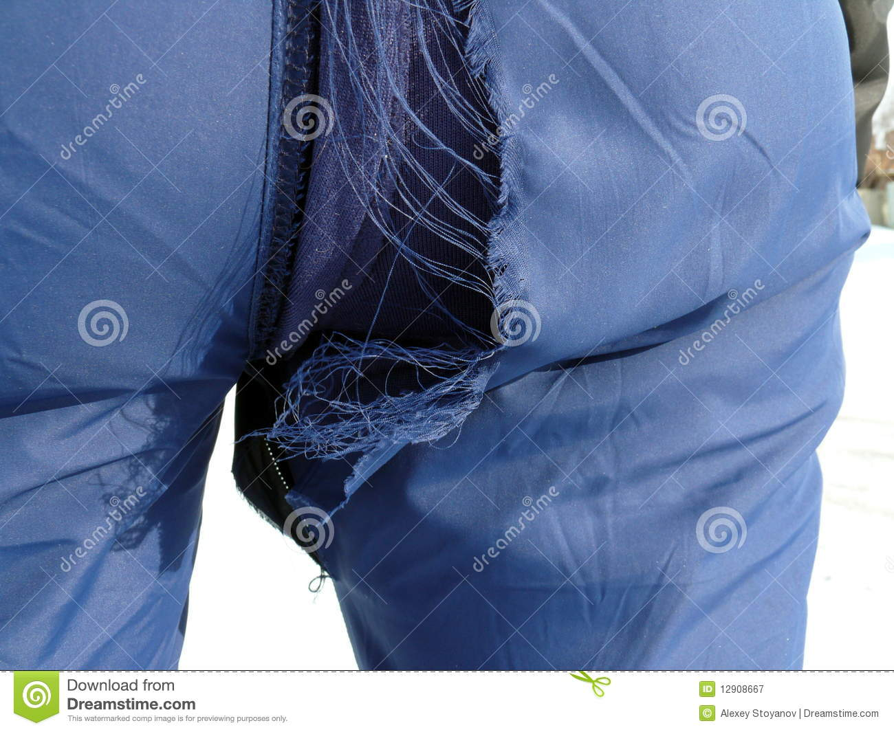 Hole in the sport trousers