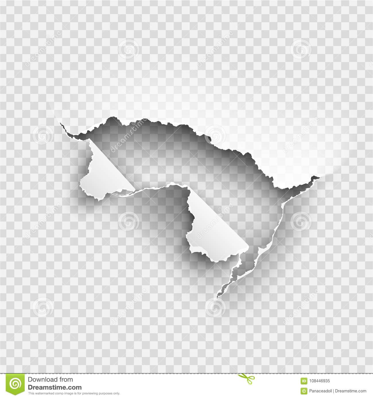 hole torn in ripped paper on transparent stock vector - illustration
