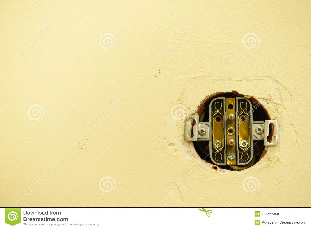 Hole In Wall With Wires For Light Switch. Stock Photo ... Yellow Wire In Light Switch on
