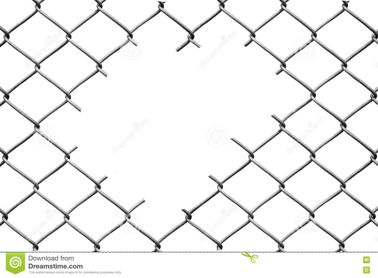 Hole In The Wire Mesh Fence On A White Stock Image - Image of link ...