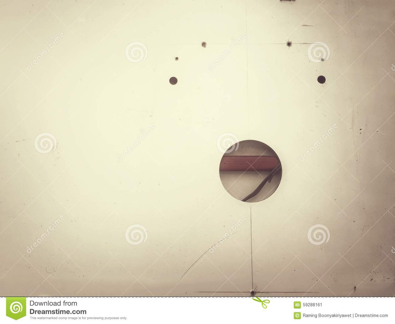 Holes on the wall decoration stock photo image 59288161 for Decoration hole