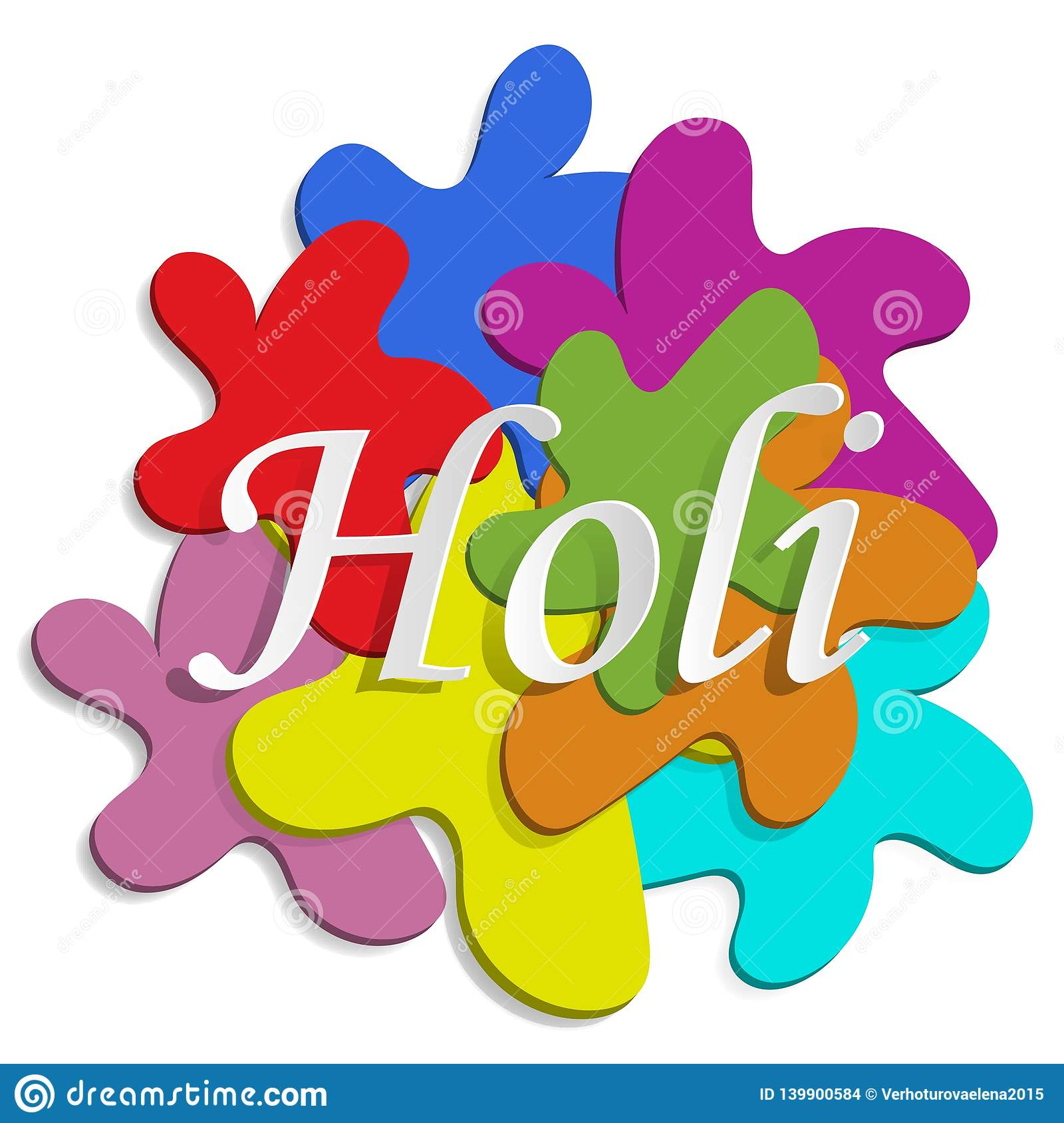 Holi 2019. 3D blots of paint and the inscription Holi. Flyer, banner. Vector graphic. Greeting text. Vector font illustration.