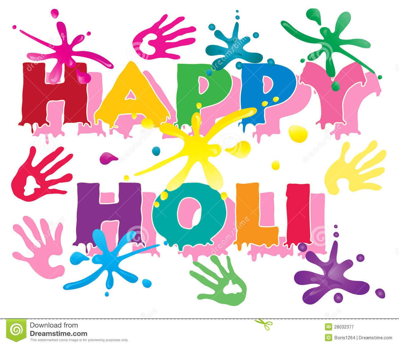 An illustration of happy holi in colorful letters to celebrate the ...