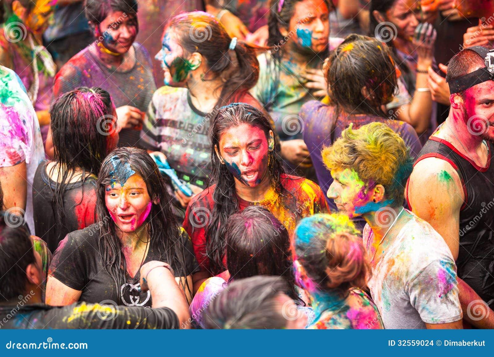 Holi festival av färger i Kuala Lumpur, Malaysia