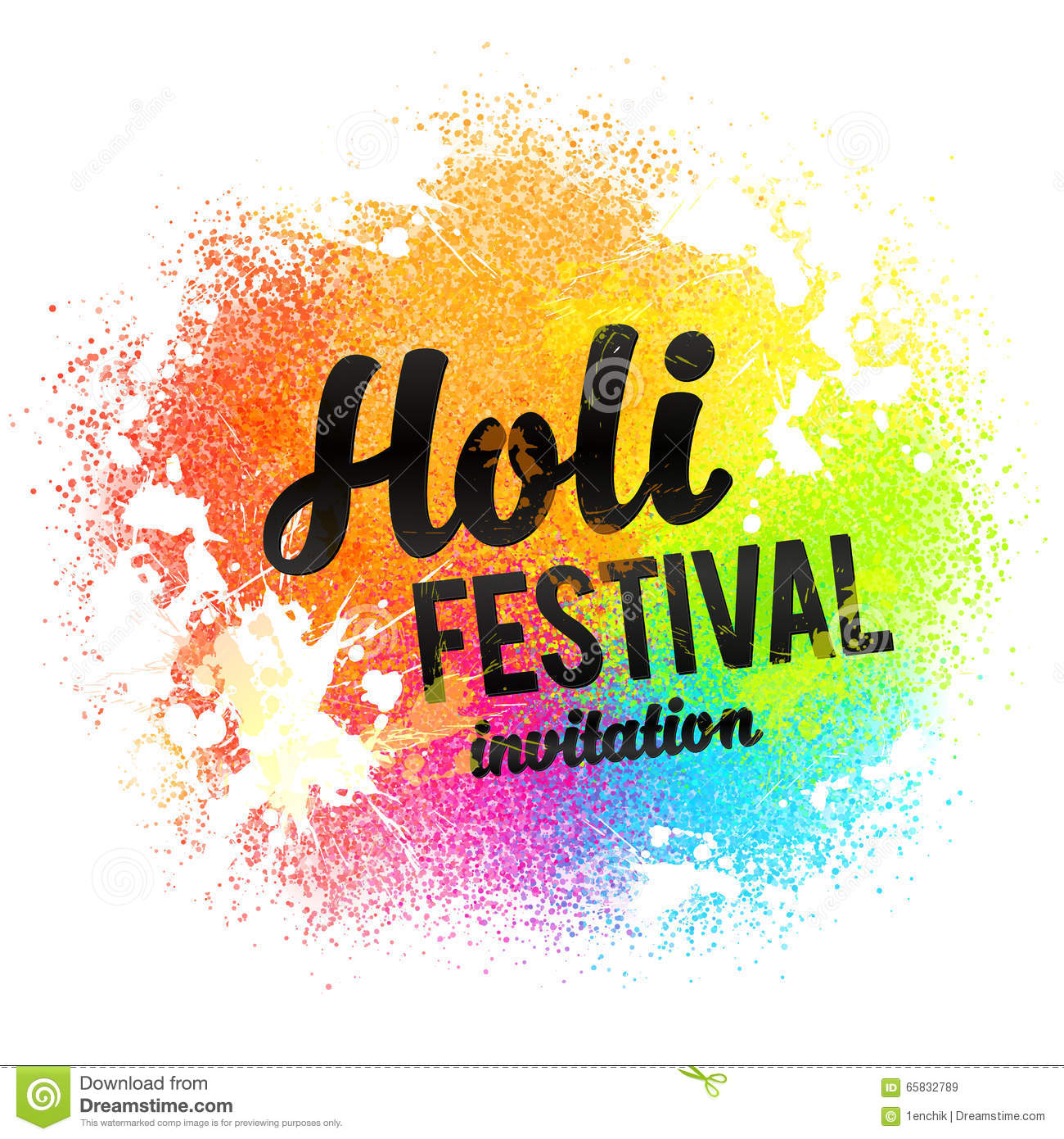 Holi festival invitation black sign on rainbow colors paint powder and drops background