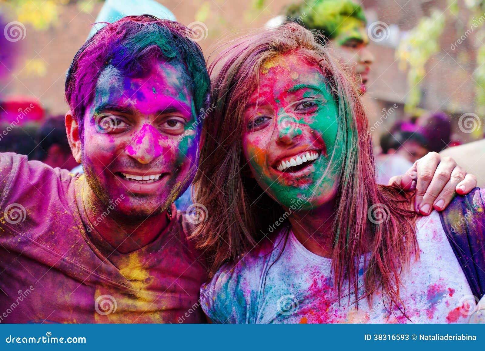 Holi festivalberömmar i Indien