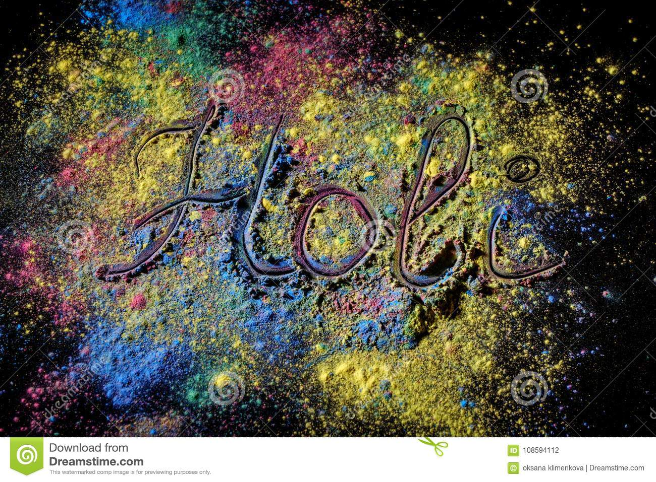 Holi paint festival background with lettering Holi . Color powder explosion on black.