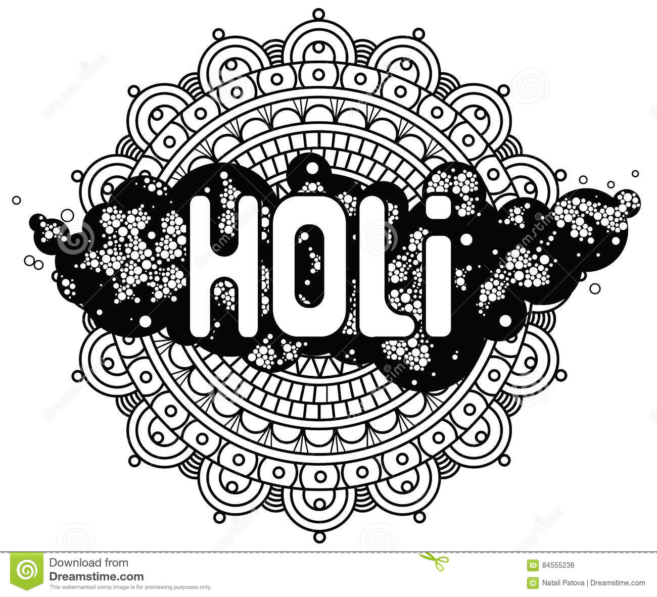 Holi Word On Background Mandala And Cloud Circles. For ...