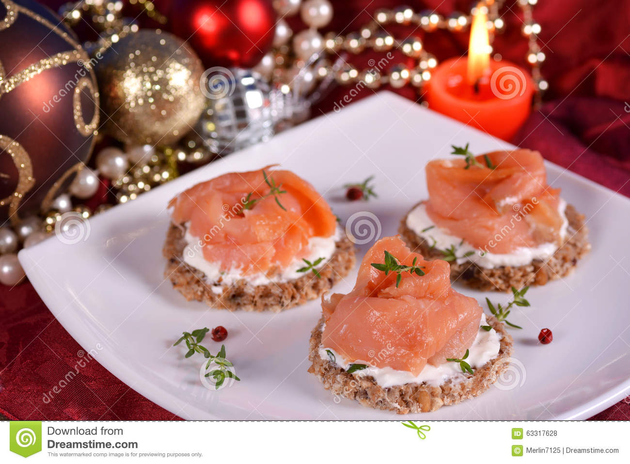 Holiday appetizer canapes salmon stock photo image 63317628 for Canape christmas