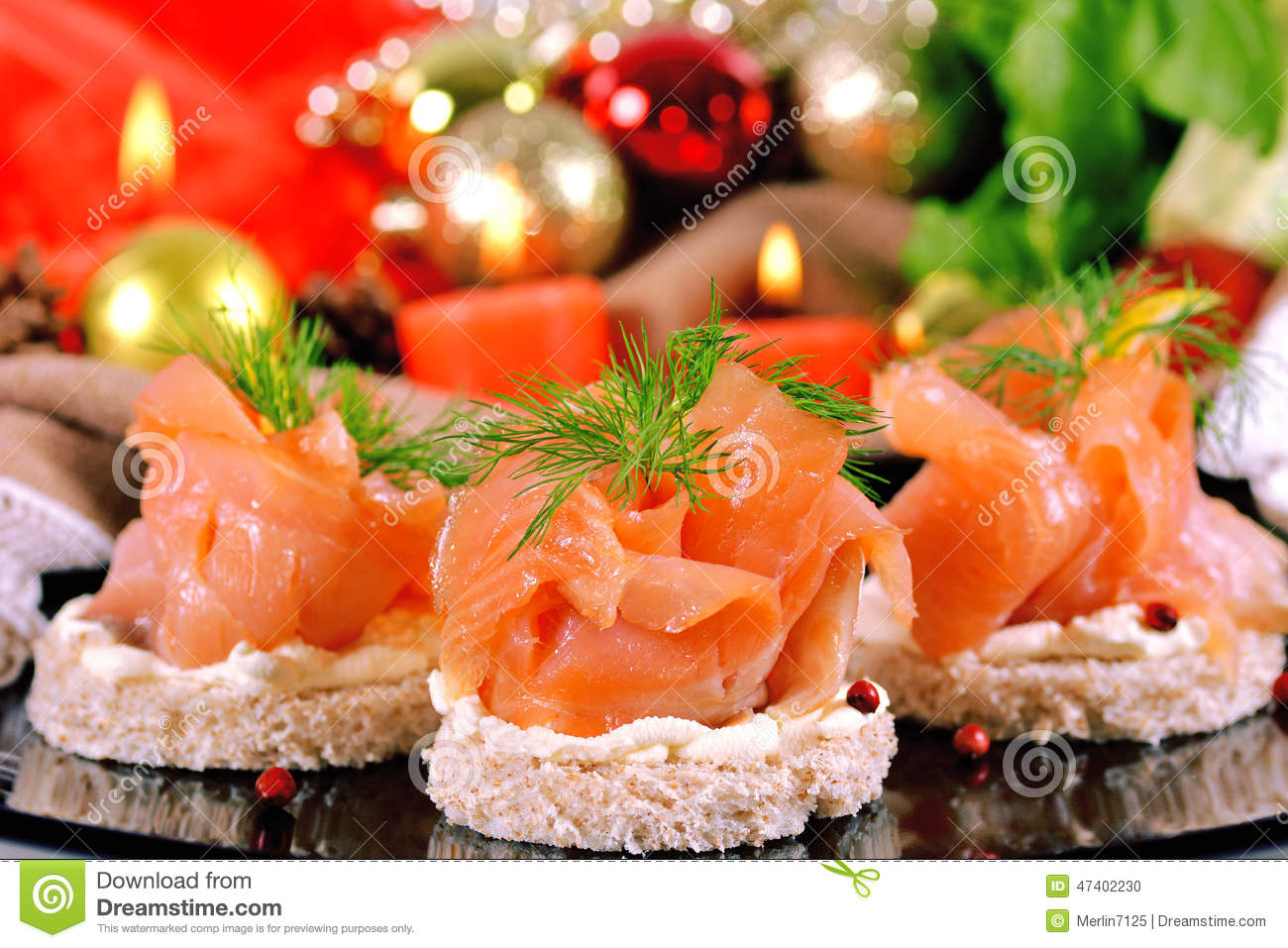 Holiday appetizer with salmon canapes stock photo image for Christmas canape