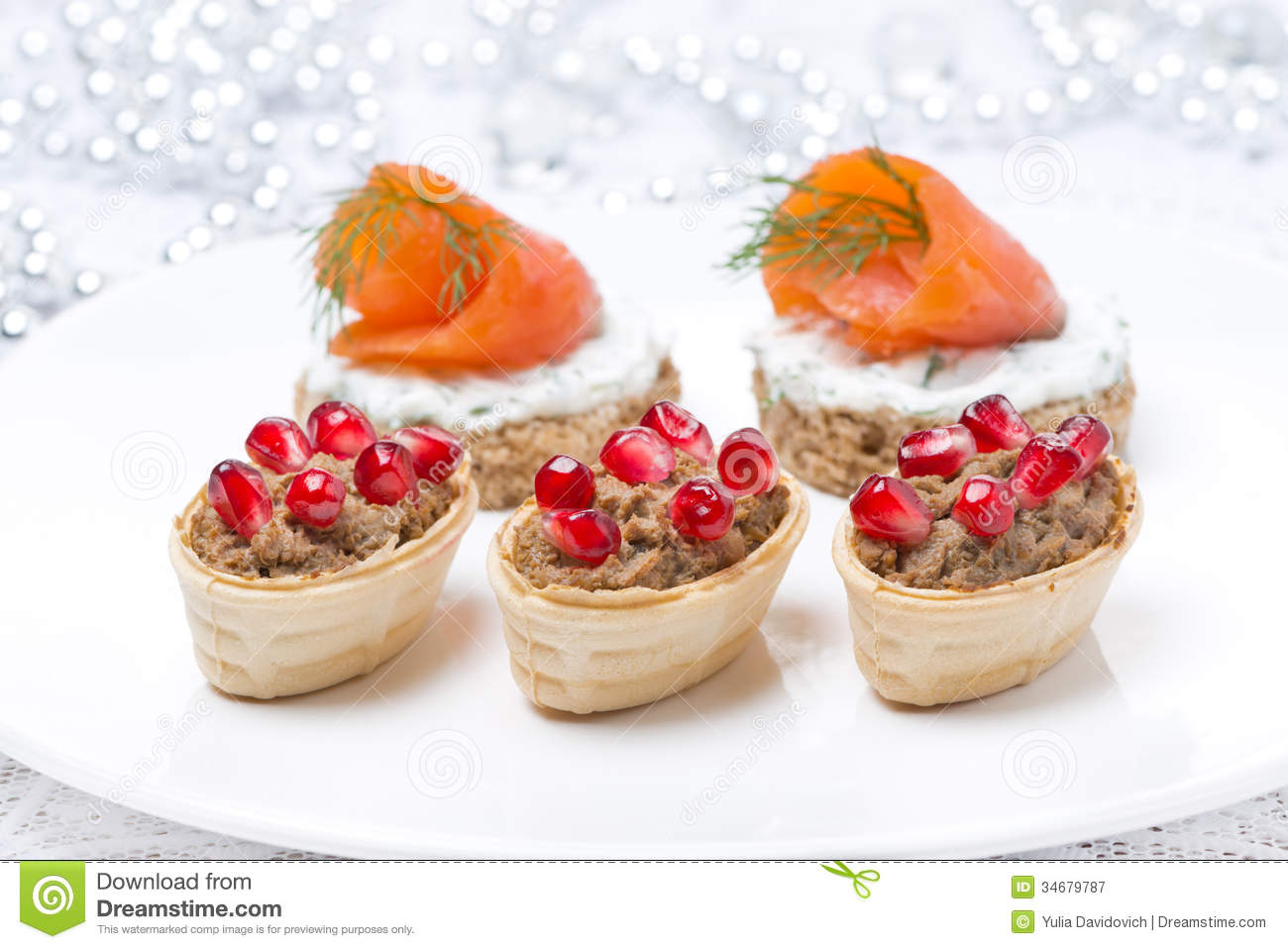 Holiday Appetizers - Canape With Salmon, Tartlet With ...