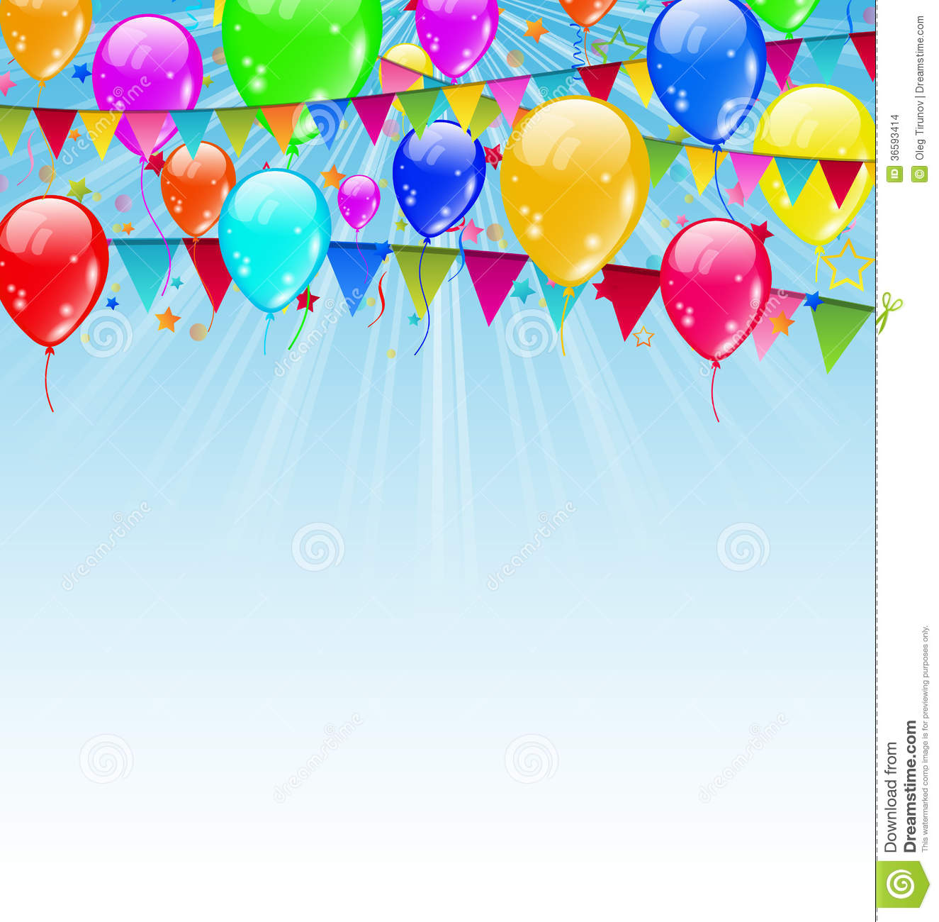 Holiday Background With Birthday Flags And Confett Stock
