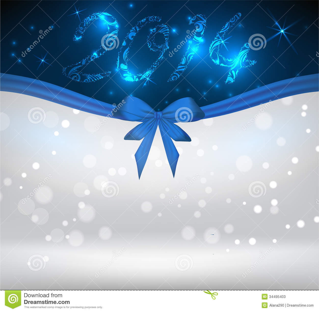 holiday background with blue bow ribbon