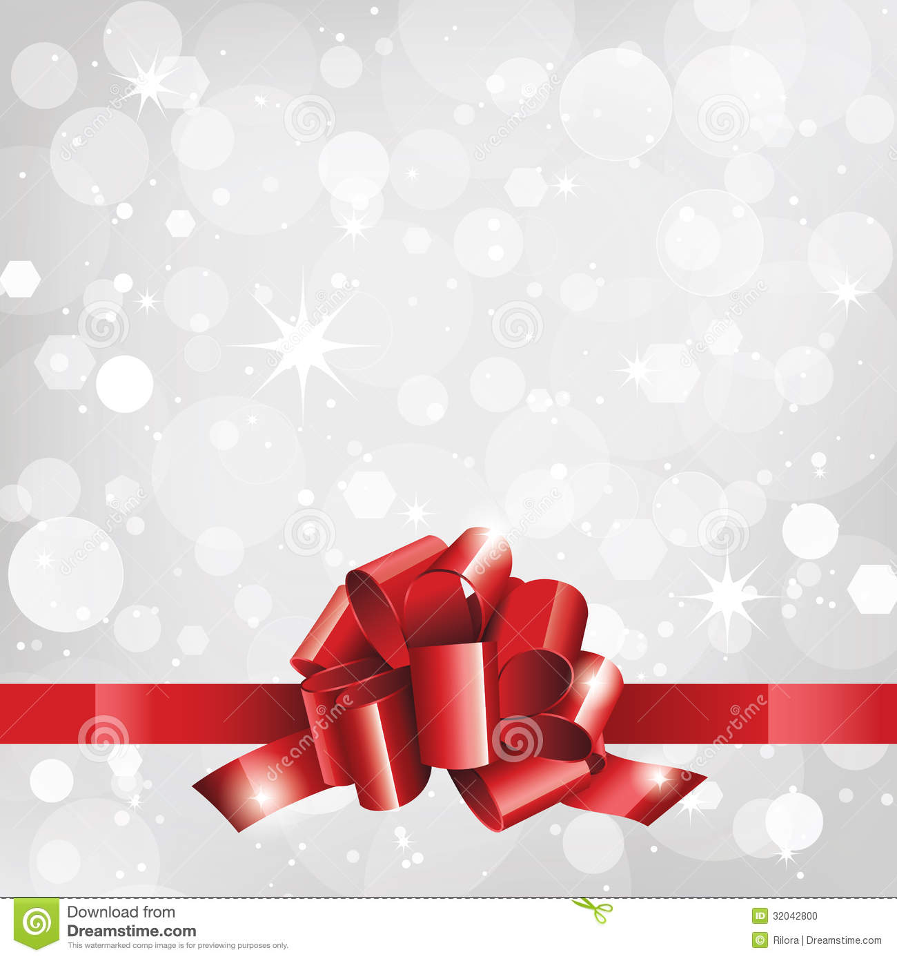 Holiday Background Or Card With Red Ribbon Stock Photo