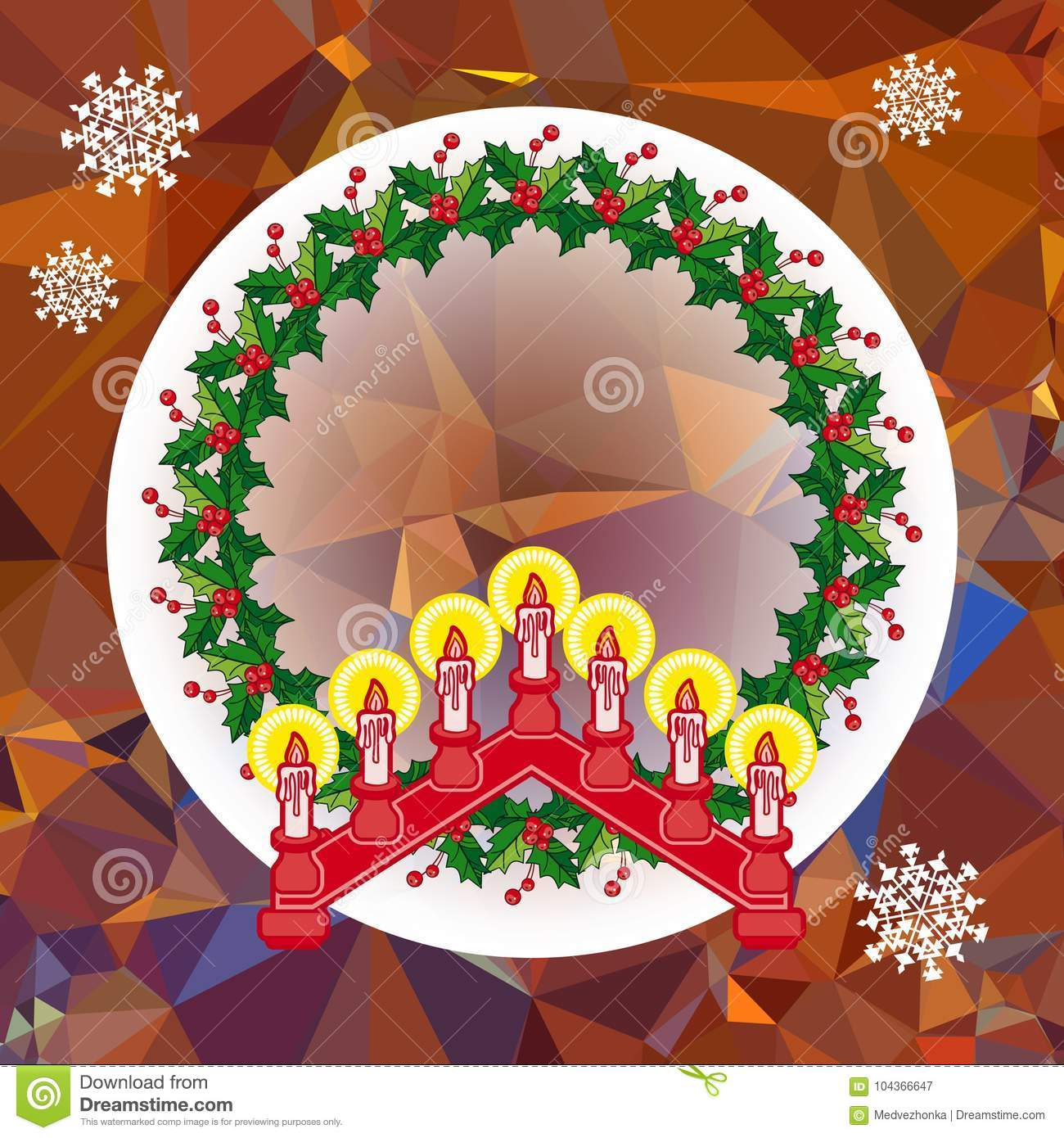Holiday Background With Christmas Garland And Candlestick Stock