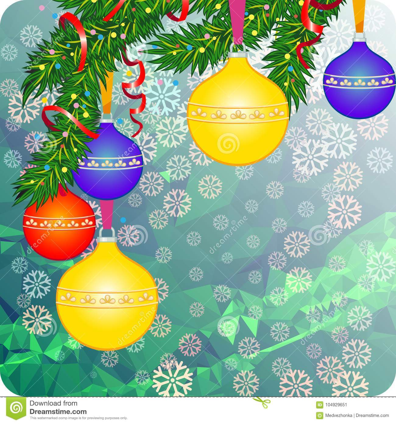 Holiday Background With Christmas Ornaments. Copy Space