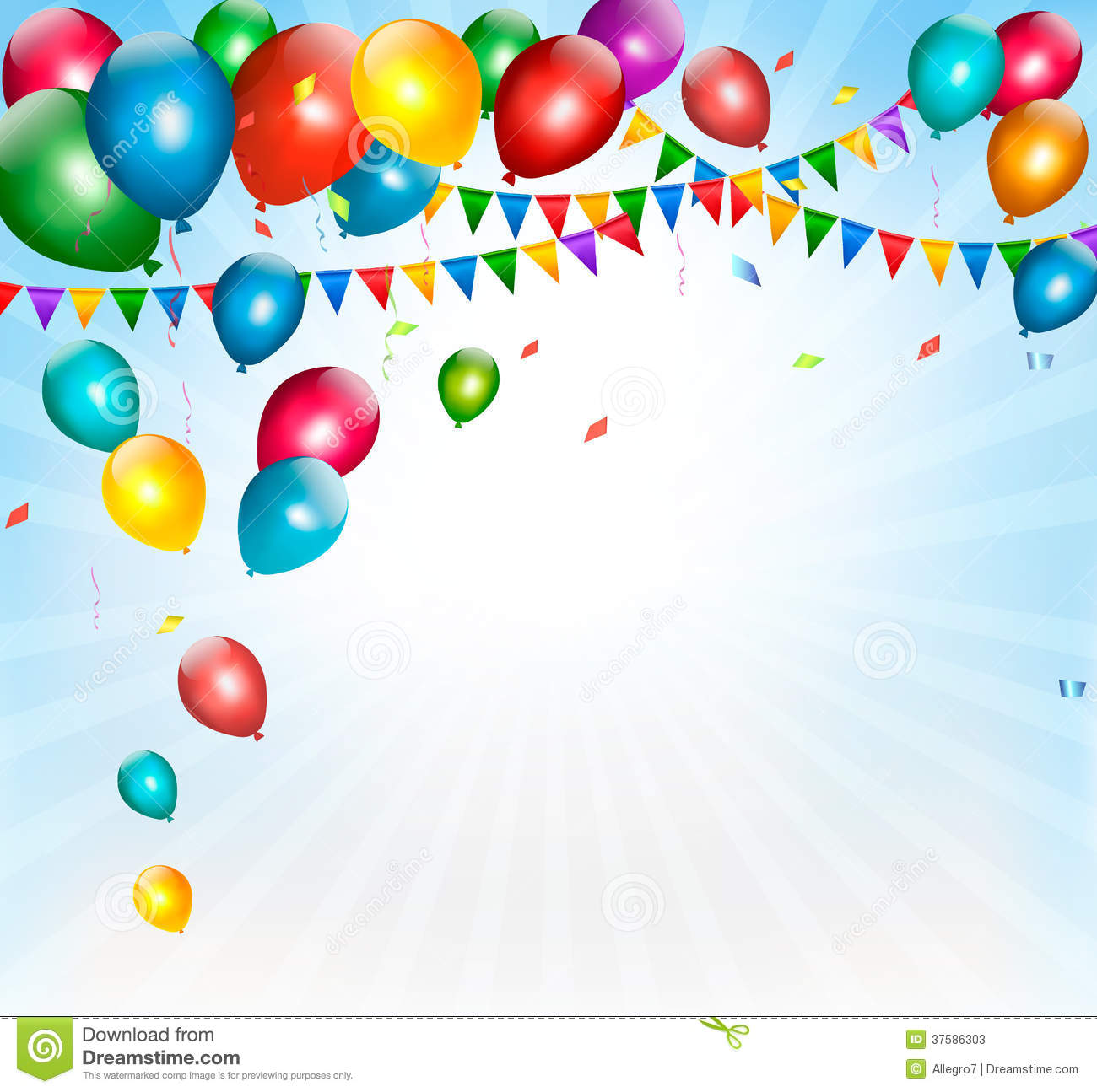 Holiday Background With Colorful Balloons And Flag Stock