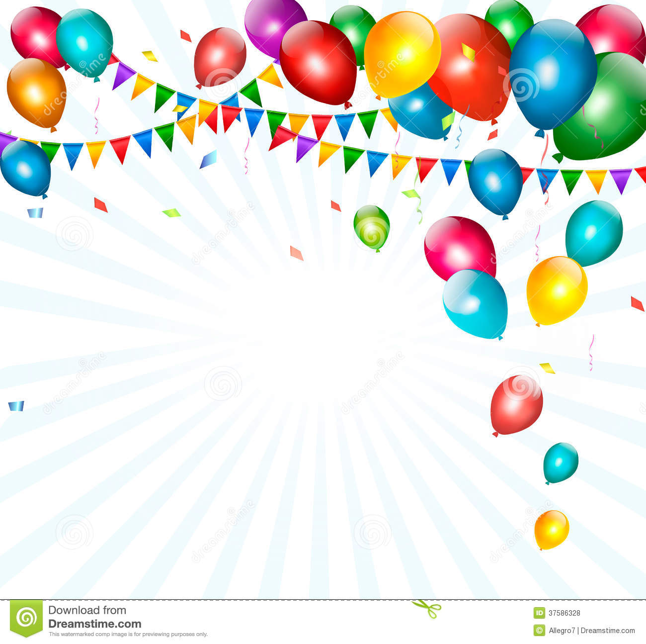 Holiday Background With Colorful Balloons And Flag Stock Vector - Image: 37586328