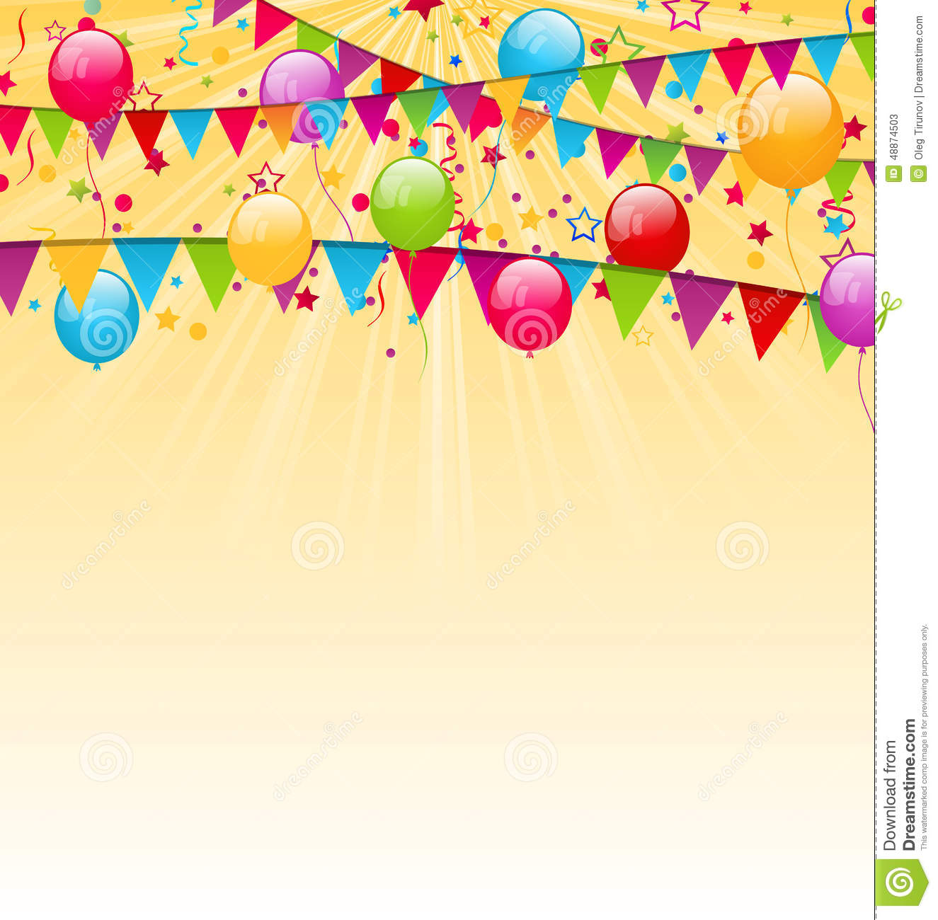 Holiday Background With Colorful Balloons Hanging Flags