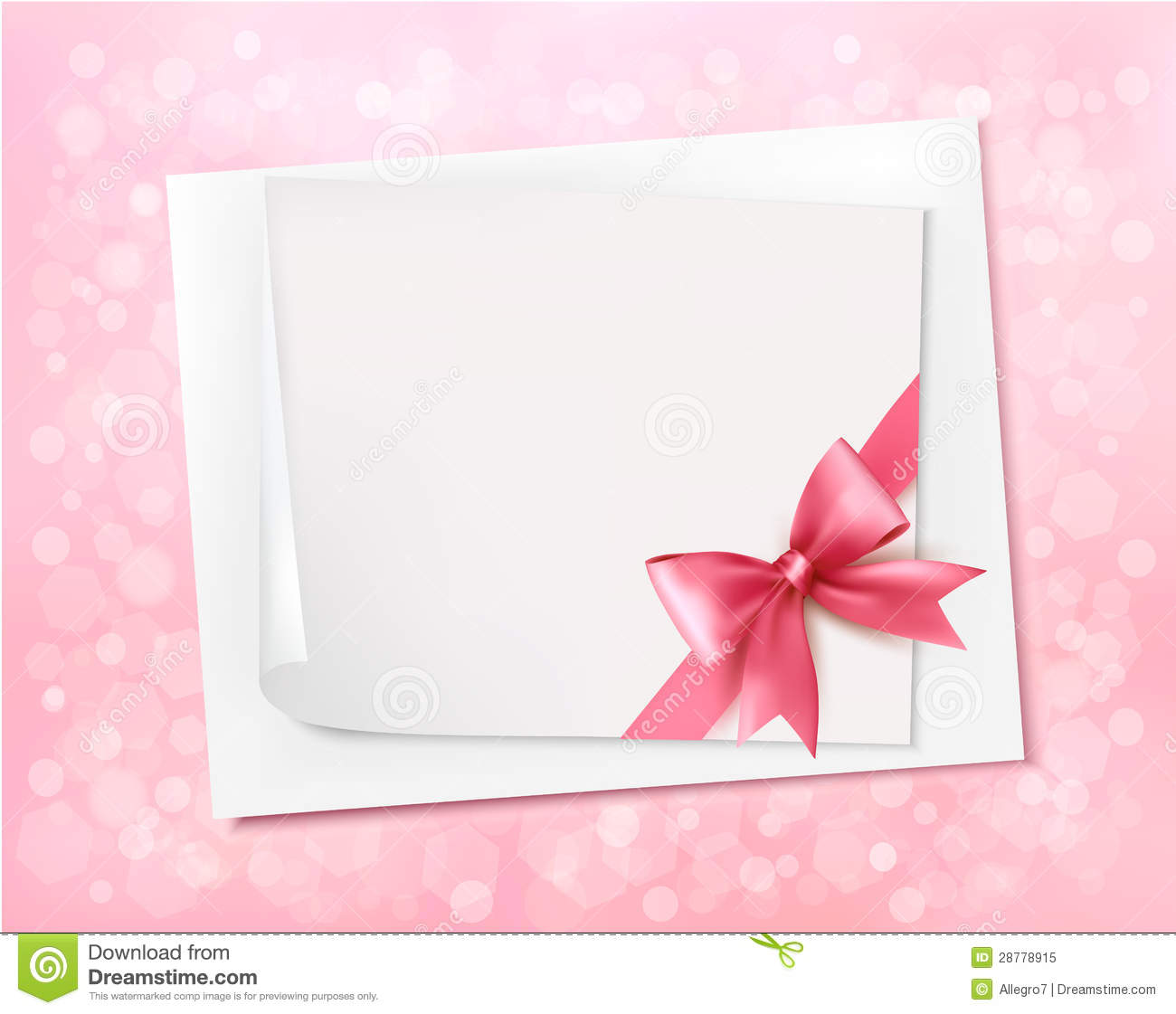Holiday Background With Gift Pink Bow Royalty Free Stock