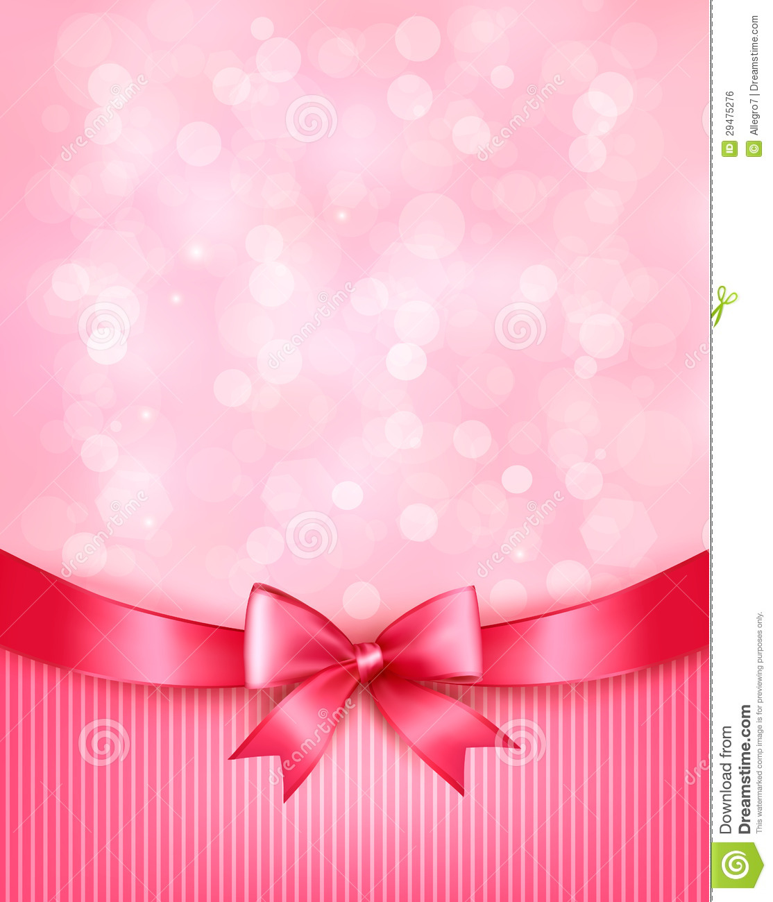 Holiday Background With Gift Pink Bow And Ribbon. Royalty Free Stock ...