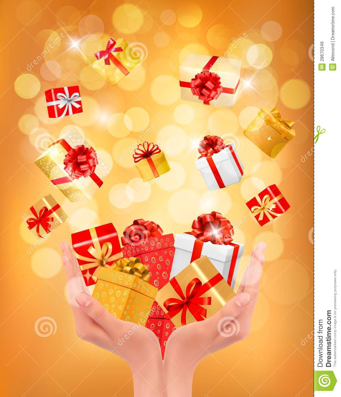 Holiday Background With Hands Holding Gift Boxes Royalty