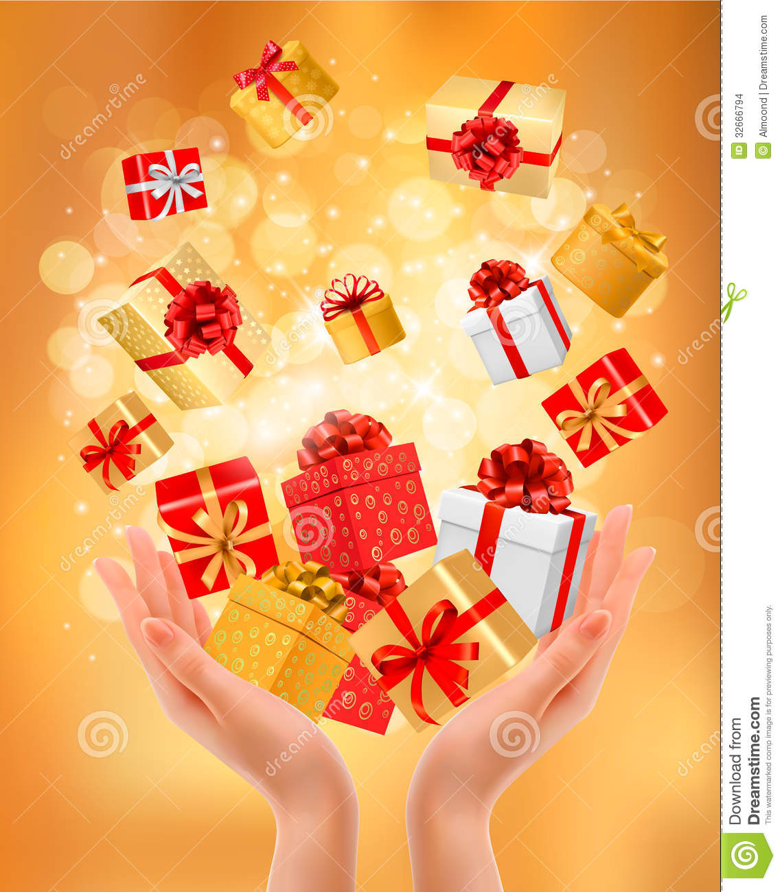 holiday background with hands holding gift boxes  stock