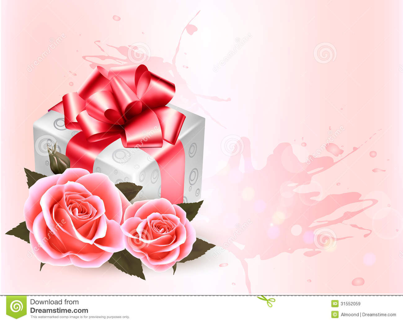 holiday background with pink roses and gift box  stock